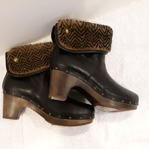 New Dark brown leather ankle Clog Ugg Boots